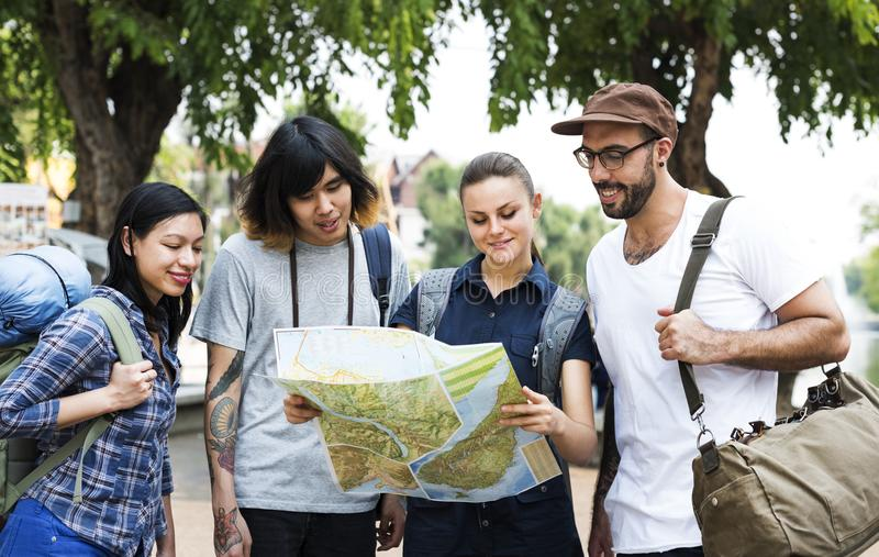 Backpackers in Chiang Mai, Thailand stock photo