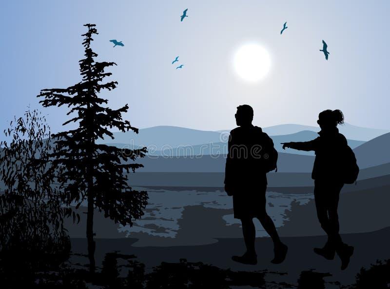 Backpackers cieszy się dolinnego widok ilustracja wektor