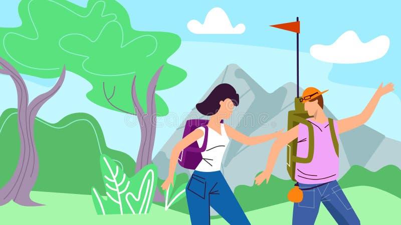 Backpackers del hombre y de la mujer con la bandera que camina la naturaleza ilustración del vector