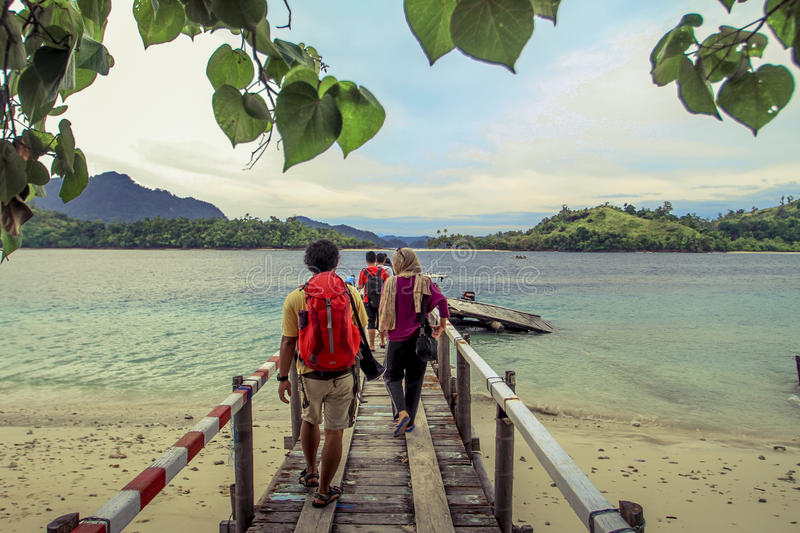 Backpackers stock images