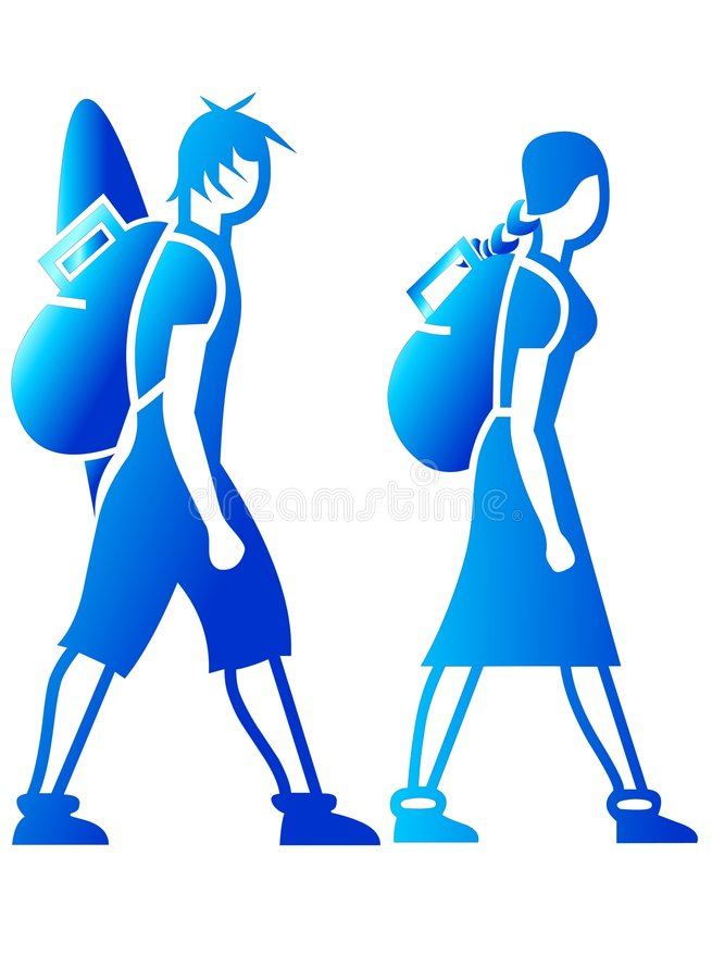 Backpackers Icons stock photography