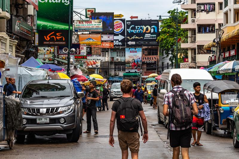 Backpackers in Khao San Road Thailand stock images