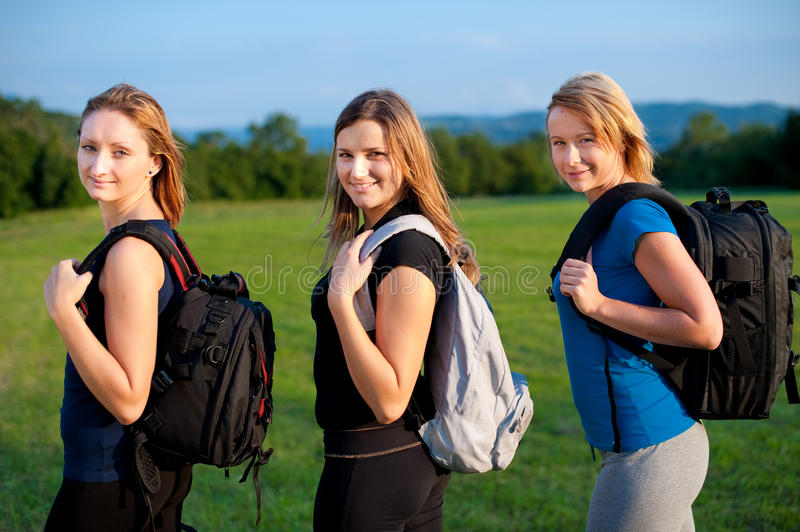 Backpackers in nature royalty free stock photos