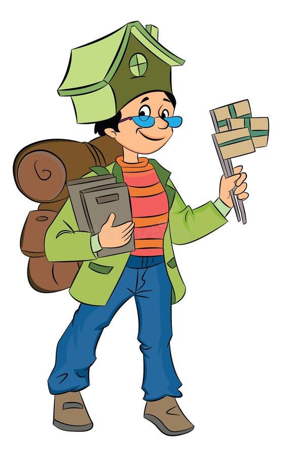 Backpacking Around World, illustration illustration stock