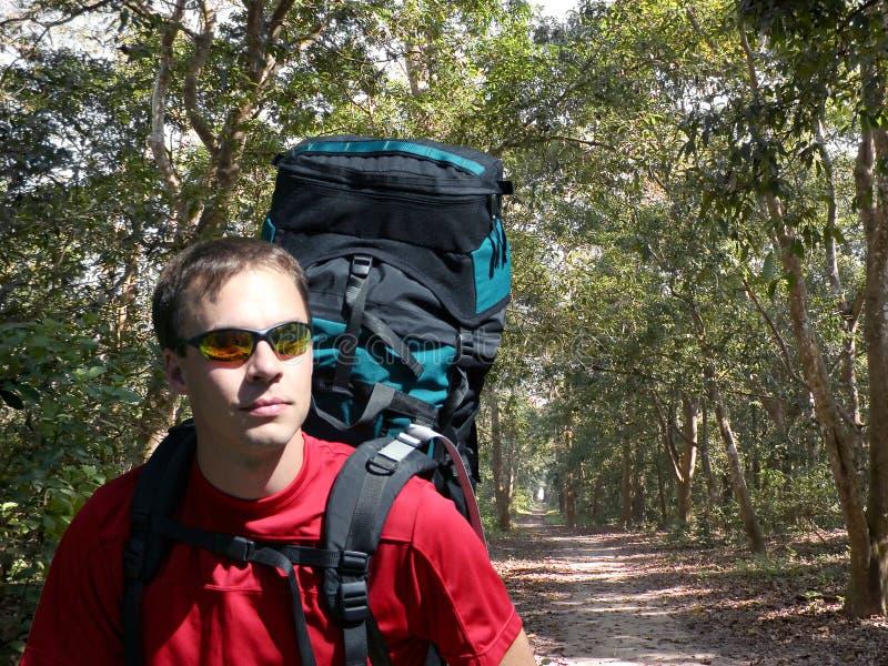 Backpacking in Chitwan royalty-vrije stock fotografie