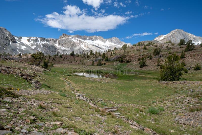 20 backpacking en de wildernis die van het merenbassin de Oostelijke Siërra Nevada Mountains van Californië in de zomer wandelen  stock foto