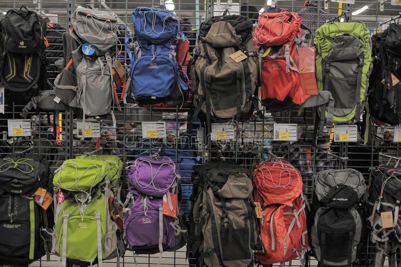 Backpacks in the sports shop royalty free stock photos