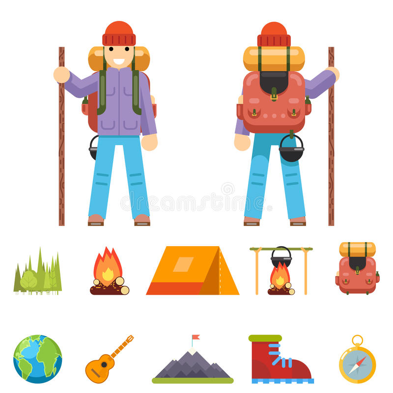 Backpaker Character Mountain Travel Trip Vacation Man Wood Summer Spring Concept Flat Design Isolated Icon Set Vector vector illustration