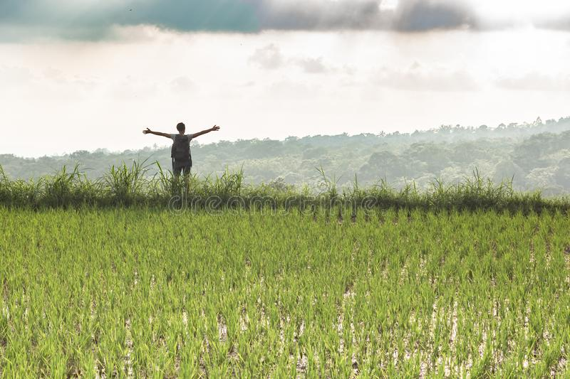 Backpacker standing, arms outstretched among rice fields on a cloudy day royalty free stock photos