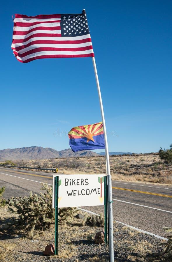 Backroad de l'Arizona, accueil de cyclistes photographie stock