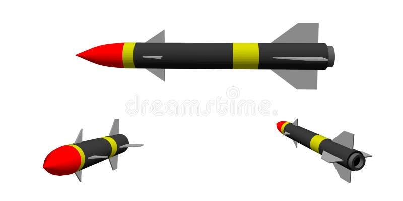 backround查出的军事导弹白色 背景查出的白色 3d例证向量 库存例证
