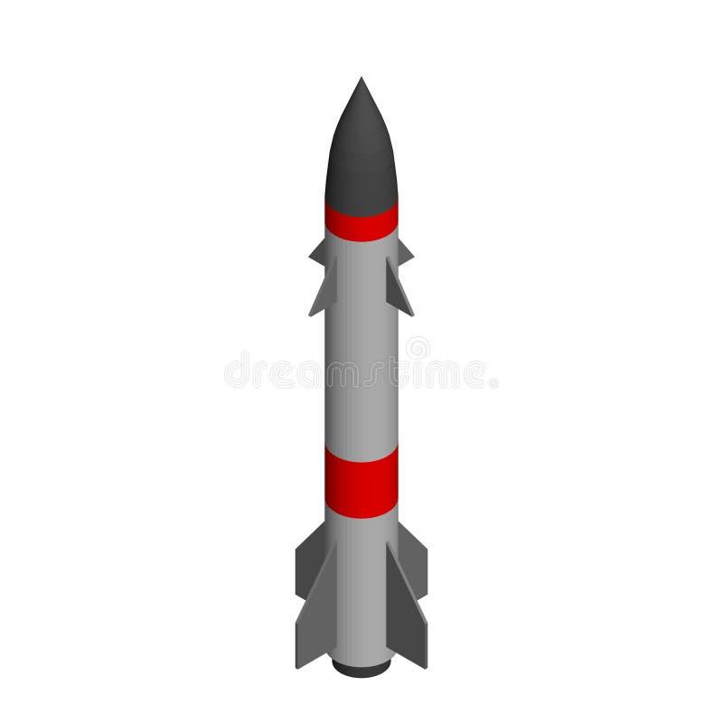 backround查出的军事导弹白色 背景查出的白色 3d例证向量 皇族释放例证