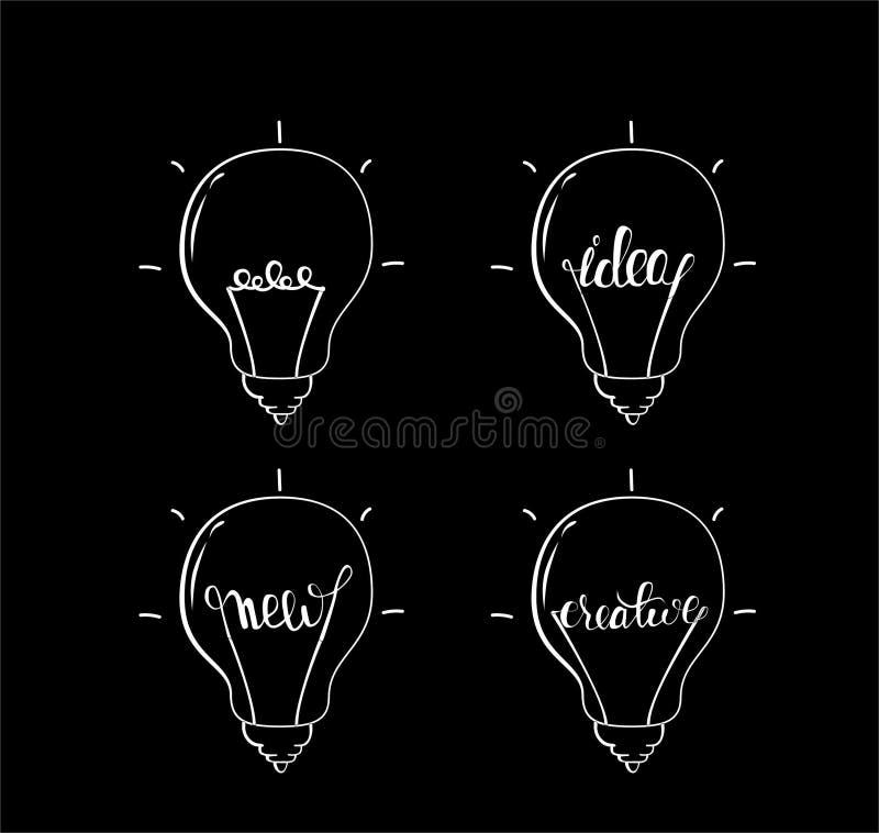 Backround темноты цвета логотипов электрической лампочки черно-белое иллюстрация вектора