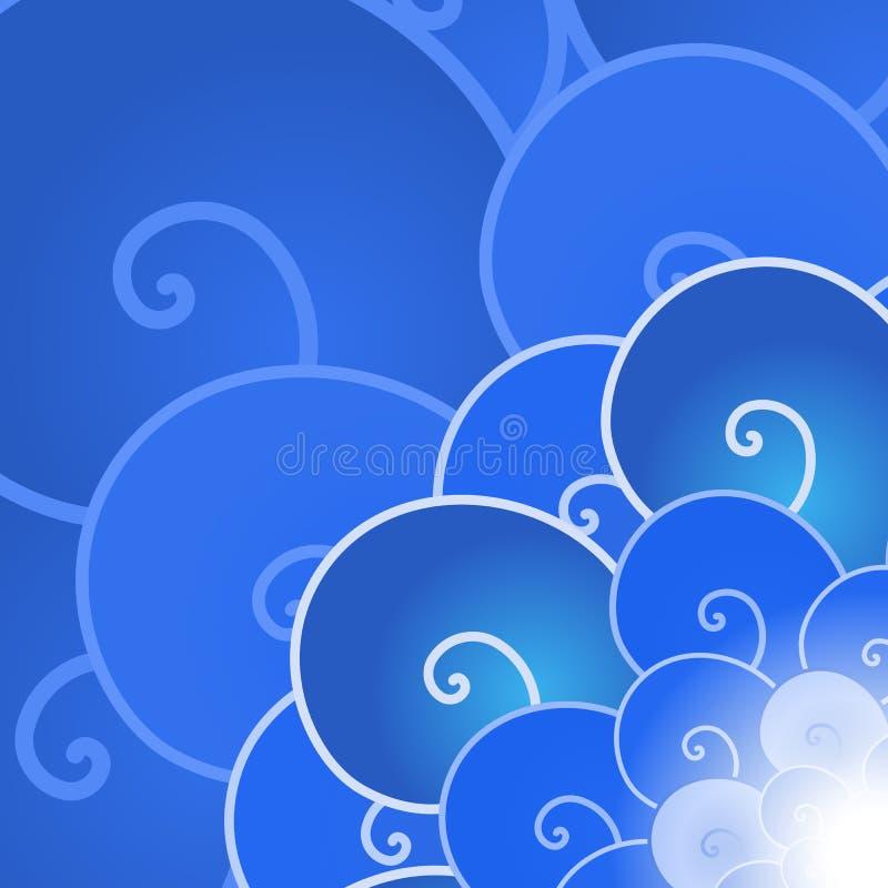 Backround azul abstrato da onda de oceano do lineart do vetor ilustração do vetor
