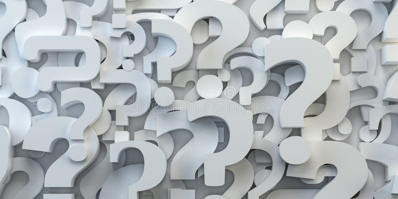 Backround de los signos de interrogación FAQ, decisión y concepto de la confusión stock de ilustración