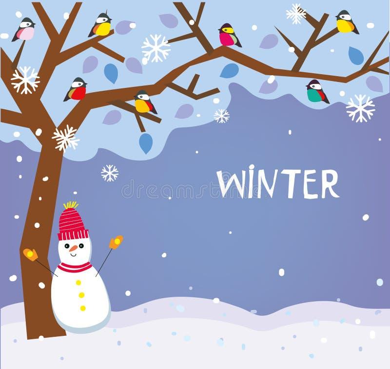 Backround del invierno con nieve, el árbol y los pájaros para la tarjeta de Navidad libre illustration
