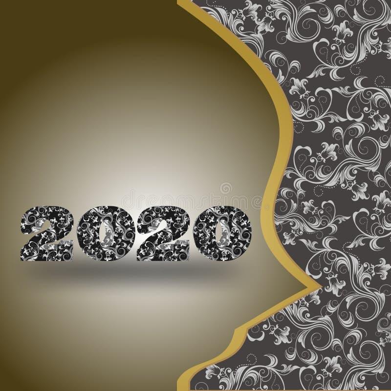 Backround e vetor do ano novo 2020 M ilustração do vetor