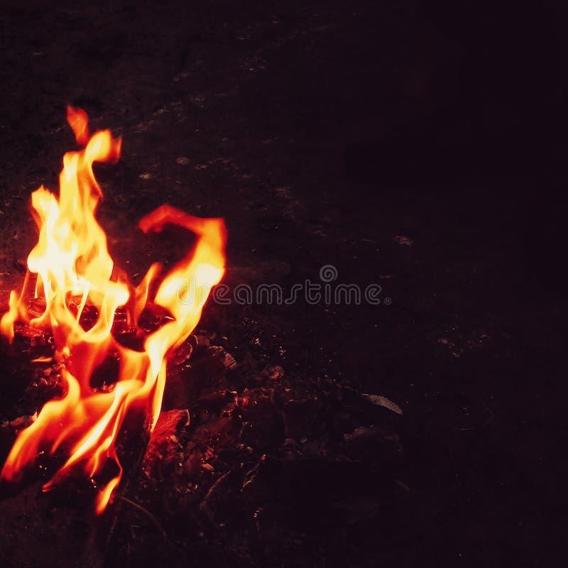 Backround nero delle fiamme luminose del fuoco immagini stock libere da diritti