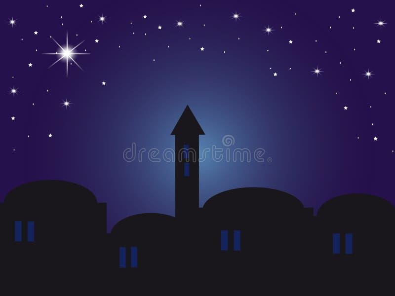 Backround night Bethlehem. Background night Bethlehem with houses and starry sky stock illustration
