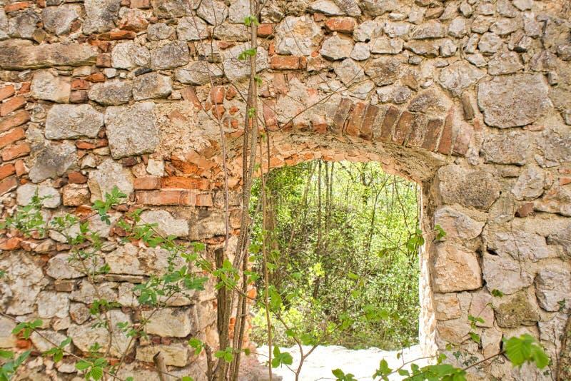 Backround window old castle stone wall stock image