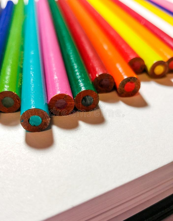 Backs of colored pencils. Coloured Pencils. royalty free stock photos