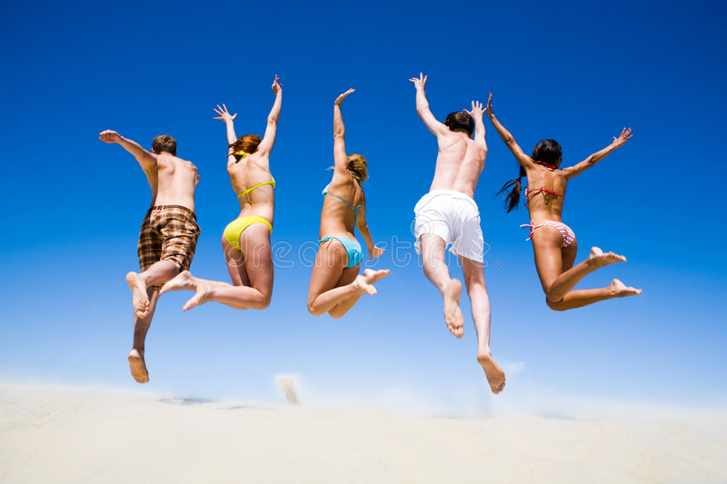 Download Backs of people stock image. Image of beach, motion, jumping - 5622481