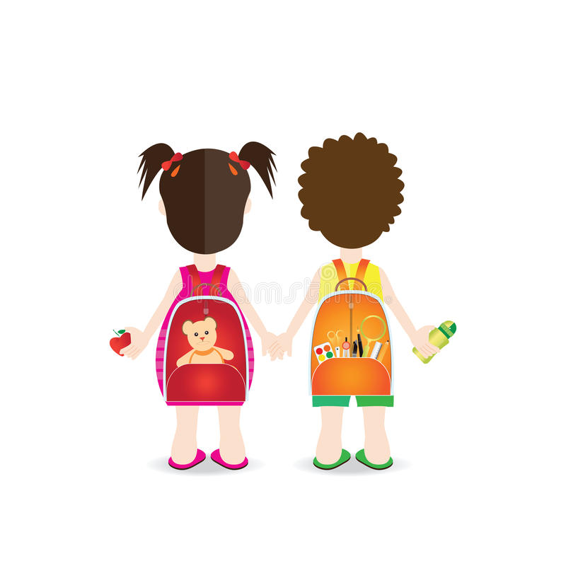 Backs of school kids with colorful rucksacks. vector illustration