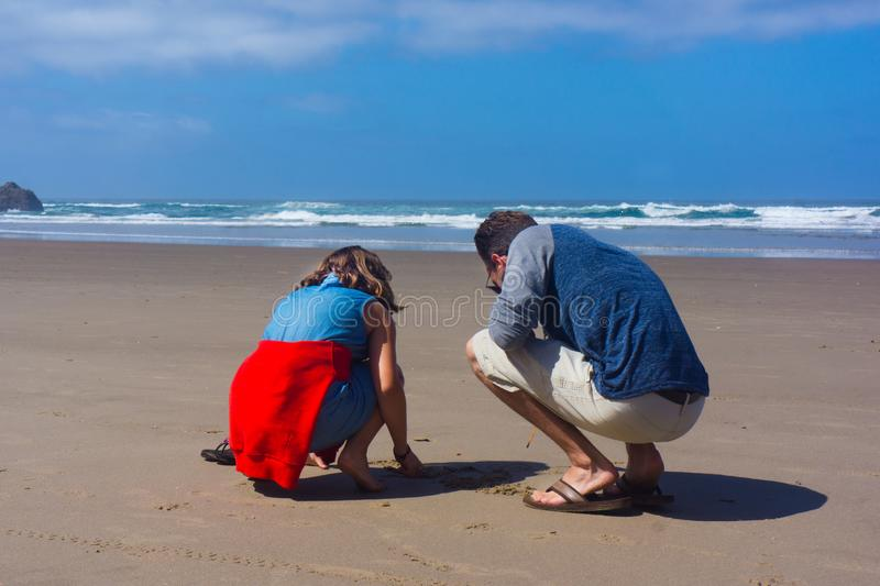 Father Daughter Explore Sandy beach at Low Tide stock photos