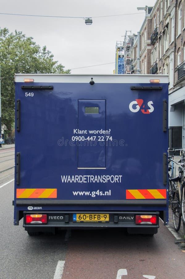 Backside Di Un Camion Armato G4S Ad Amsterdam, Paesi Bassi 2018 immagini stock libere da diritti