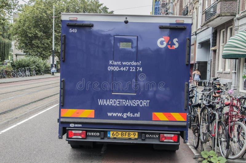 Backside Di Un Camion Armato G4S Ad Amsterdam, Paesi Bassi 2018 immagine stock