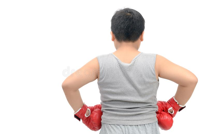 Backside of fat boy wearing red boxing gloves i. Backside of Obese fat boy wearing red boxing gloves isolated on white background, exercise and healthy concept royalty free stock images