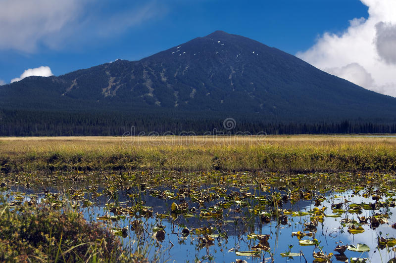 Backside of Mt. Bachelor and Sparks Lake - Oregon royalty free stock photo