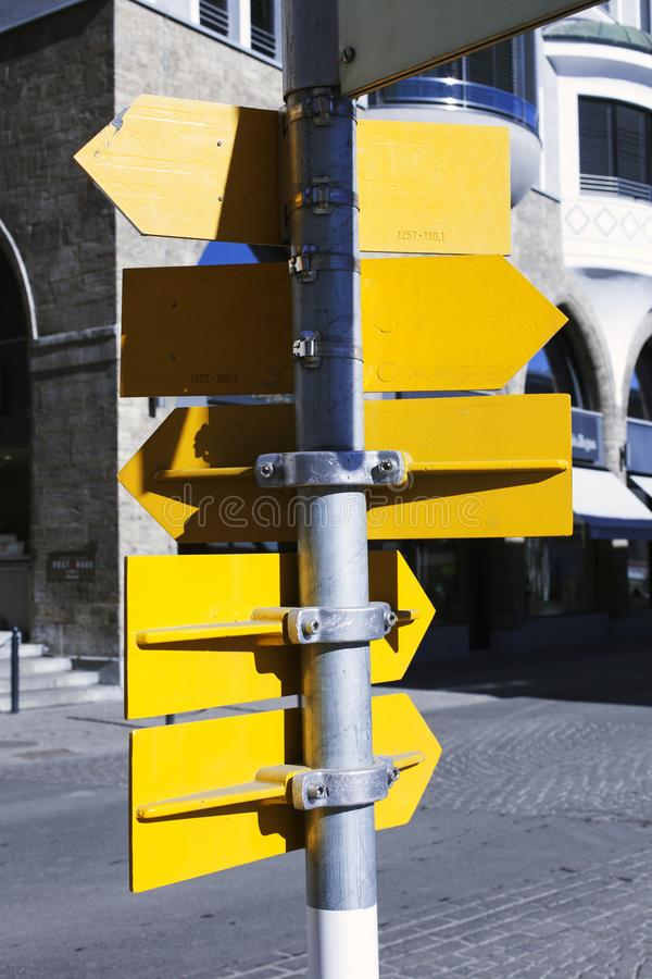 Backside of street signs in St Moritz Switzerland in the alps.  stock photo