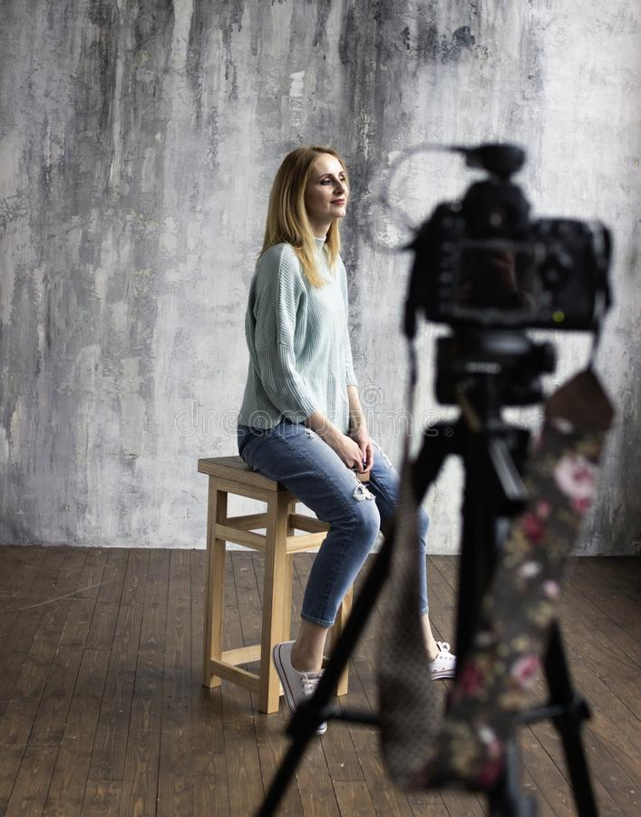 Backstage with professional shooting in the studio royalty free stock images