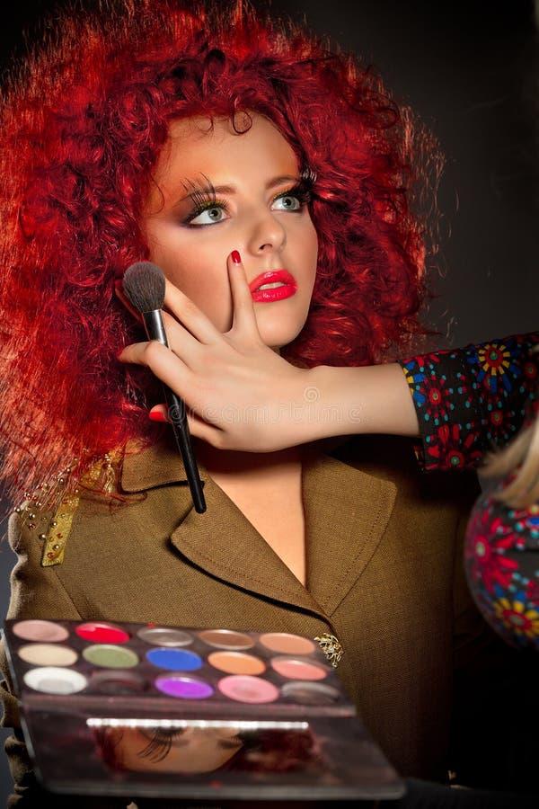 Backstage Scene: Professional Make-up Stock Photography