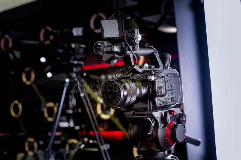 Backstage of video production professional video cameras. Backstage video production professional cameras close-up stock images