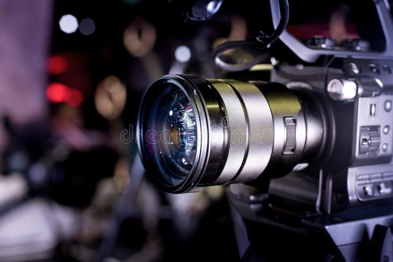 Backstage of video production professional video cameras. Backstage video production professional cameras close-up royalty free stock photos