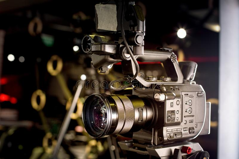 Backstage of video production professional video cameras. Backstage video production professional cameras close-up stock image