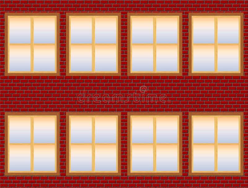 Backsteinbau-Fassade mit halb transparentem Windows (lokalisiert auf Weiß) lizenzfreie abbildung