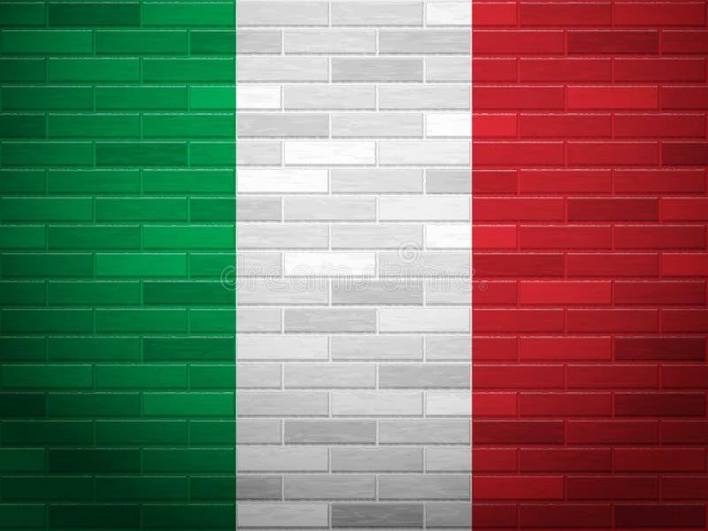 Backsteinmauer-Italien-Flagge lizenzfreie abbildung