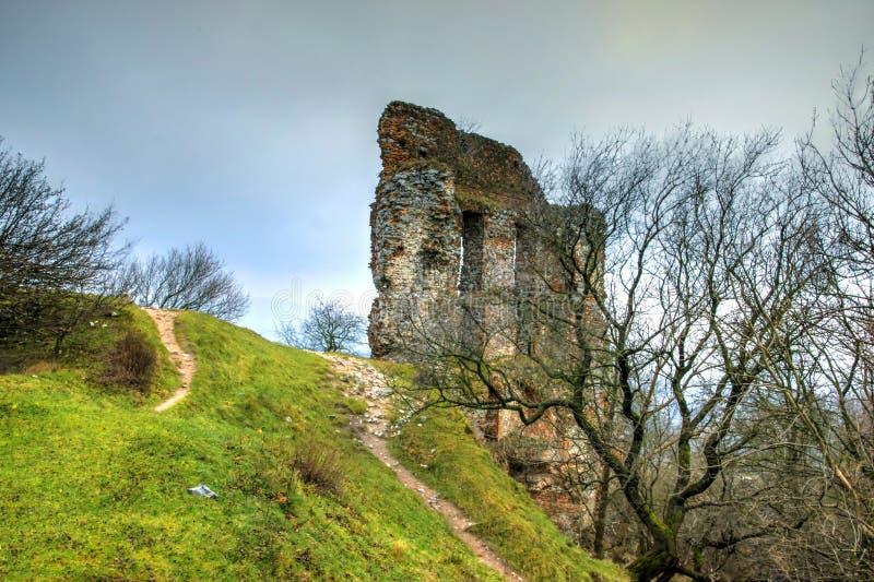 Backsteinmauer-Ruinen des Schlosses auf grünem Hügel lizenzfreie stockfotos