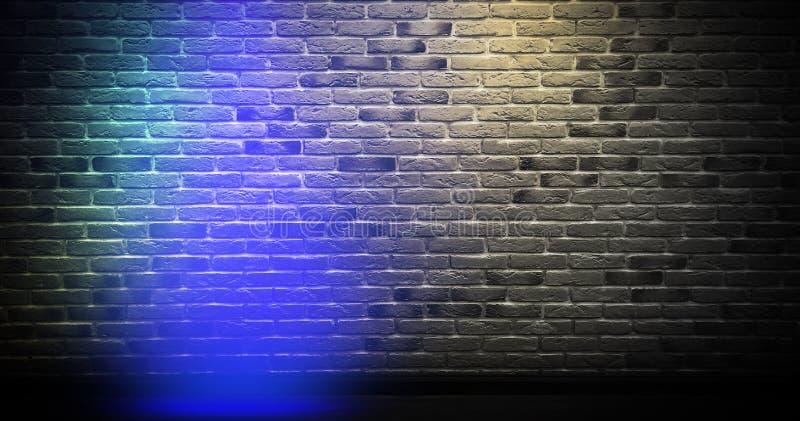Backsteinmauerhintergrund, Neonlicht stock abbildung