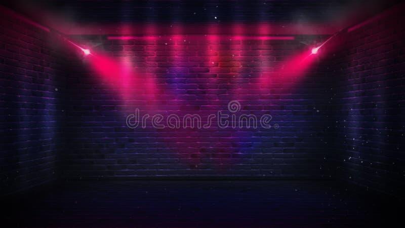 Backsteinmauern, Neonstrahlen und Glühen stockbilder