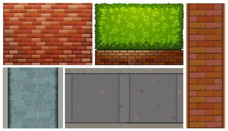 Backsteinmauern und grüner Busch stock abbildung
