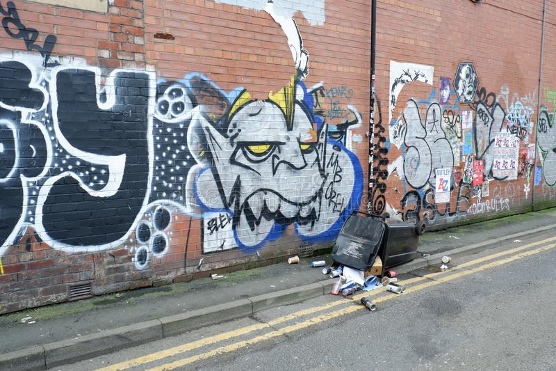 Backstreet街道画都市墙壁艺术 库存照片
