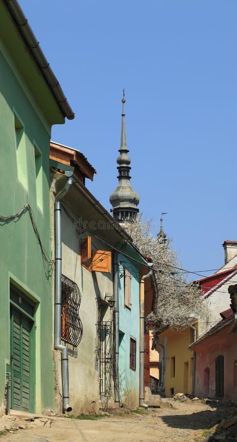 Backstreet in Sighisoara stock photography