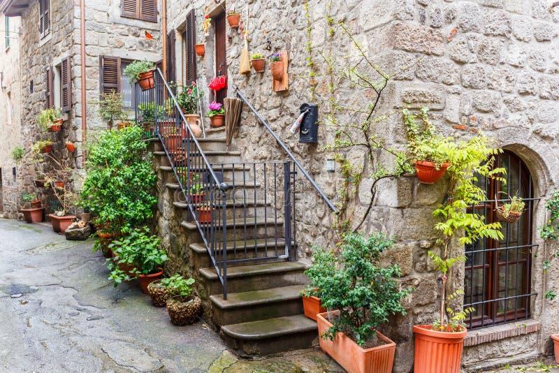 Backstreet z zielonymi roślinami na schody fotografia stock
