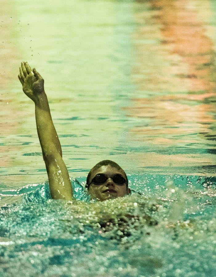 Backstroke at Swim Meet royalty free stock photos