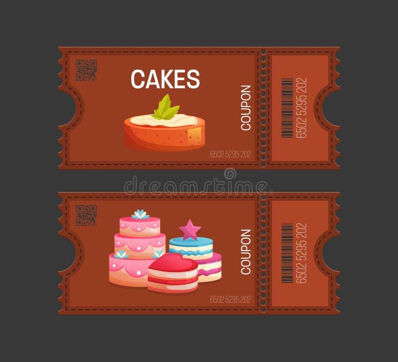 Backt Kupon zusammen Geschenkgutscheinkartenkarte Kuponlebensmittel, Getränk, essend lizenzfreie abbildung