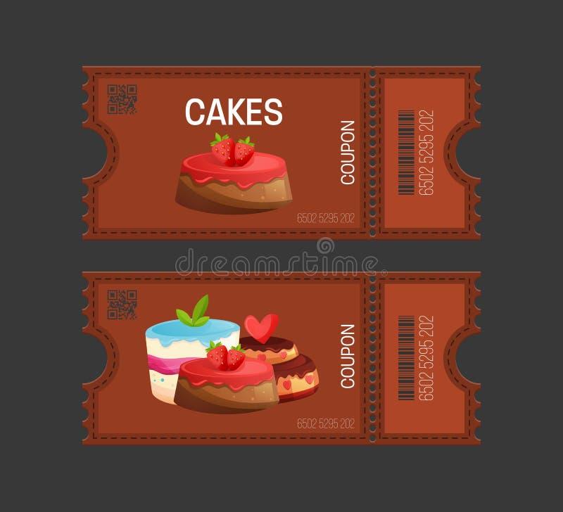Backt Kupon zusammen Geschenkgutscheinkartenkarte Kuponlebensmittel, Getränk, essend vektor abbildung